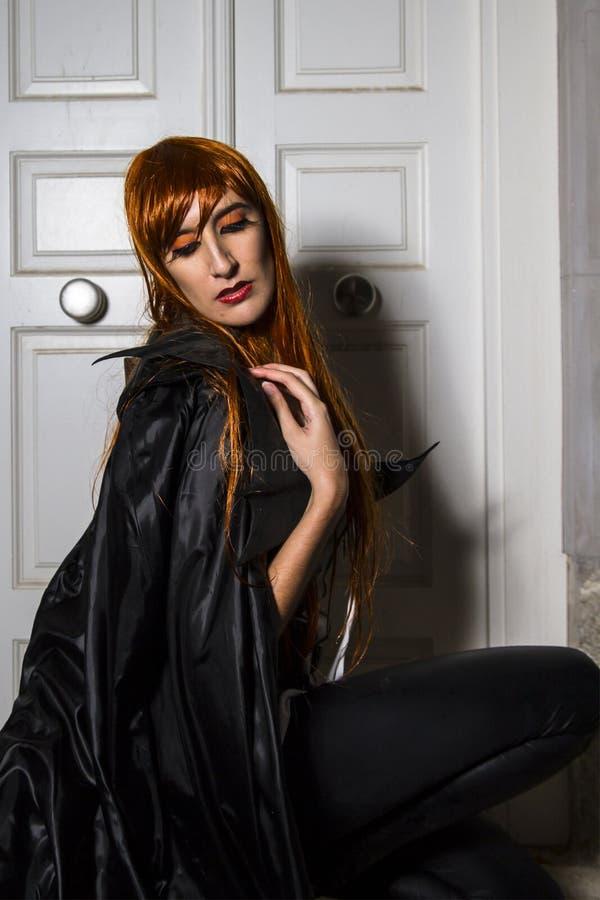 Romantic vampire.Portrait of the elegant woman in medieval era d royalty free stock photo