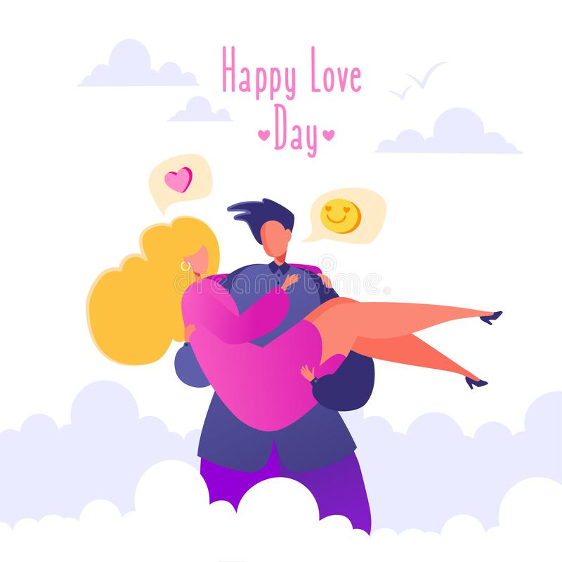Romantic vector illustration on love story theme. Couple in love, man holding his beloved girlfriend in his arms, carries on hands. Happy flat people character stock illustration