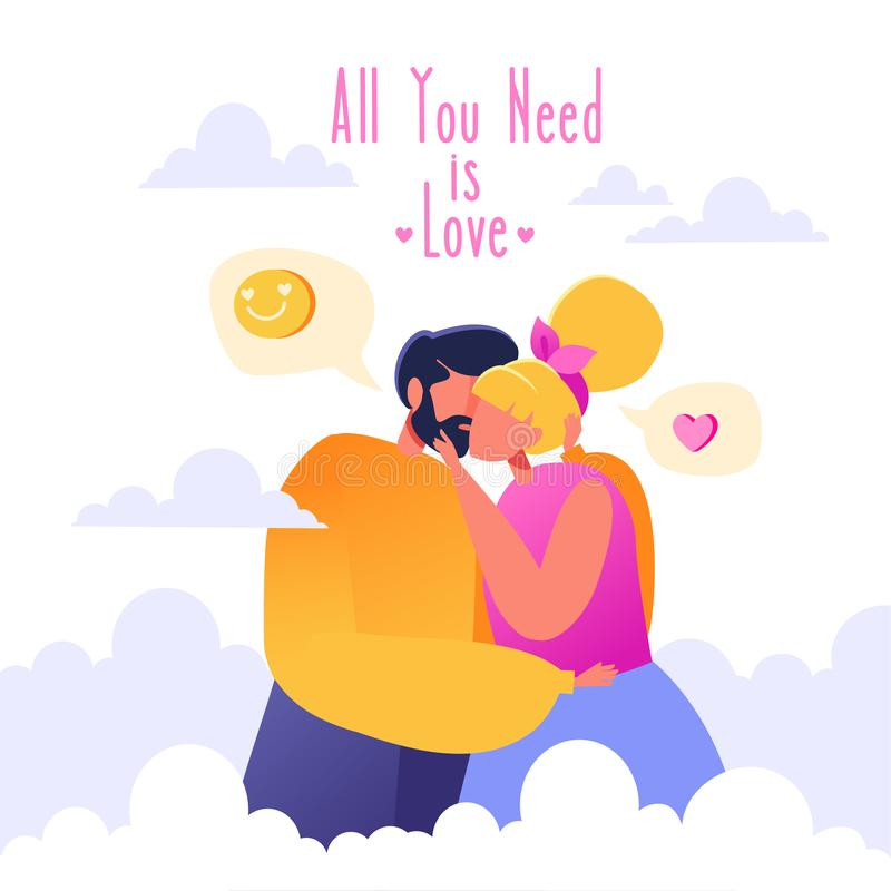 Romantic vector illustration on love story theme. Happy flat people character on the seventh heaven. Soaring in the clouds. Couples in love, they embrace and royalty free illustration