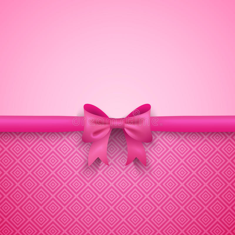 Romantic vector pink background with cute bow and. Pattern. Pretty design. Greeting card wallpaper for valentine day, birthday or woman day stock illustration