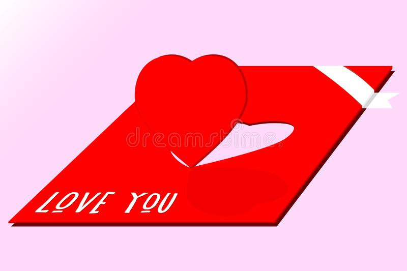 Romantic vector postcard with cutoff effect in isometric. Heart is cut off from red paper postal card background with text I love stock photos
