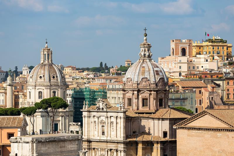 Roofs and cathedrals of Rome, Italy, Europe. Romantic view over roofs and cathedrals of Rome, Italy, Europe stock images