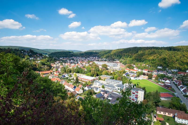 Romantic view to Koenigsbronn. In Germany in summer royalty free stock photo