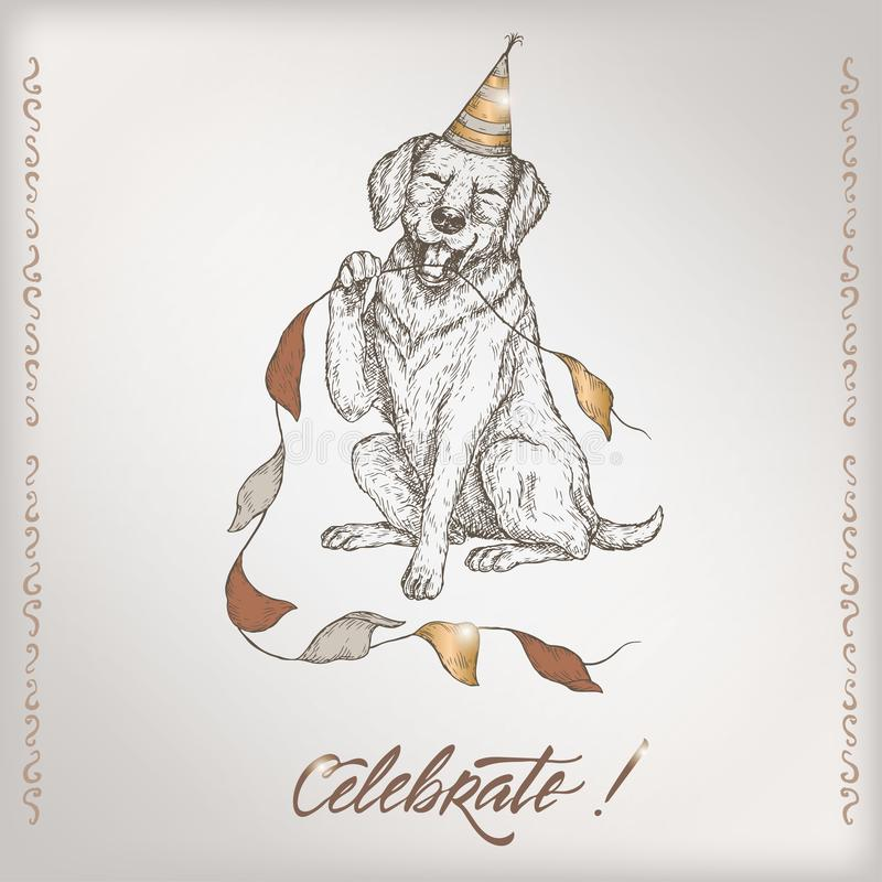 Romantic vintage birthday card template with calligraphy, dog and party flags sketch. royalty free illustration