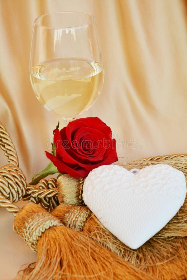 Romantic vintage concept of love, red wine and rose stock image