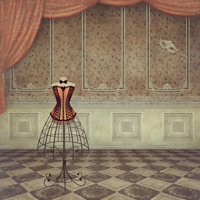Vintage dummy. A romantic vintage dummy in room royalty free illustration