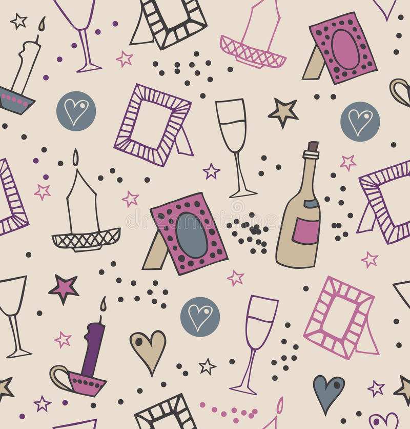Romantic vintage seamless background with photo frames, candles, hearts, stars, goblets and bottles of vine. Endless modern pattern with many decorative stock illustration