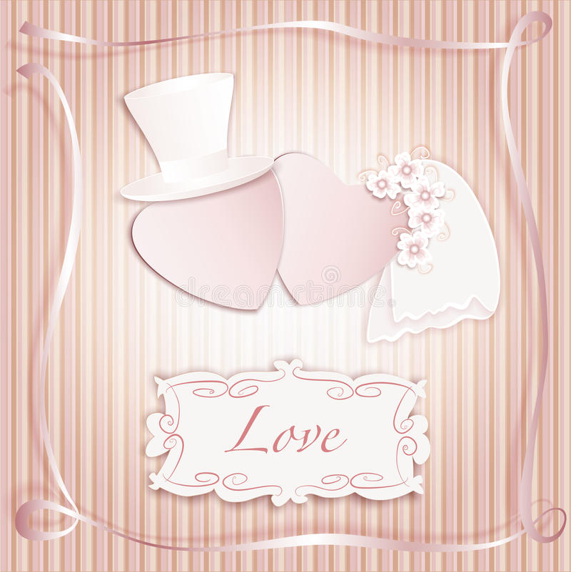 Romantic vintage style wedding invitation post card royalty free stock photo