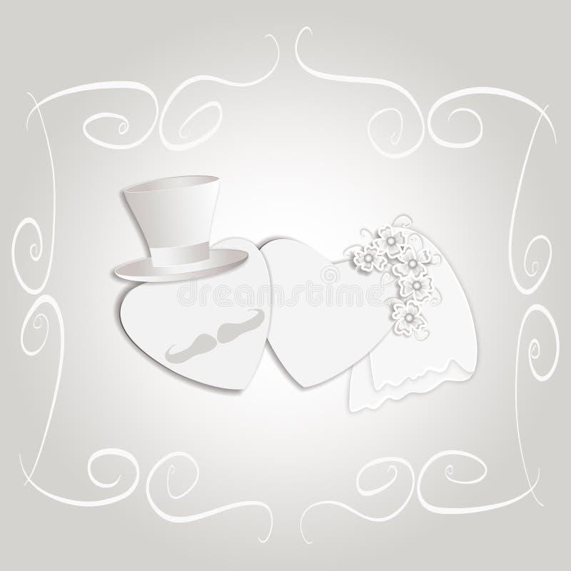 Romantic vintage style wedding invitation royalty free stock images