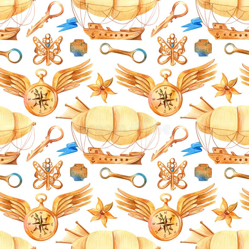 Romantic watercolor seamless pattern in fantasy style with steampunk elements. Vintage Victorian background with airships, keys, wings and feathers in ginger vector illustration