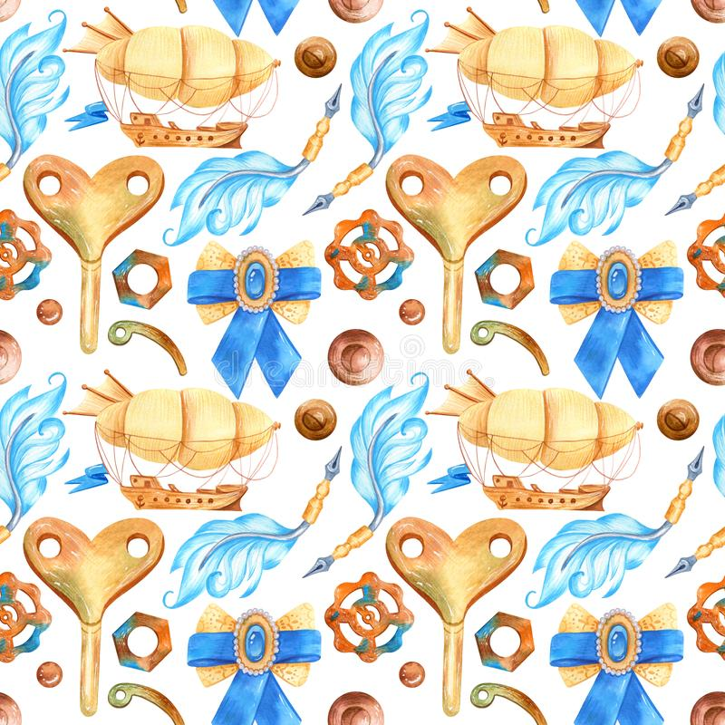 Romantic watercolor seamless pattern in fantasy style with steampunk elements. Vintage Victorian background with airships, keys, wings and feathers in ginger stock illustration