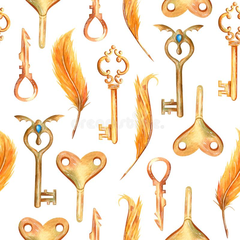 Romantic watercolor seamless pattern in fantasy style with steampunk elements. Vintage Victorian background with keys and feathers in ginger, gold and blue royalty free illustration