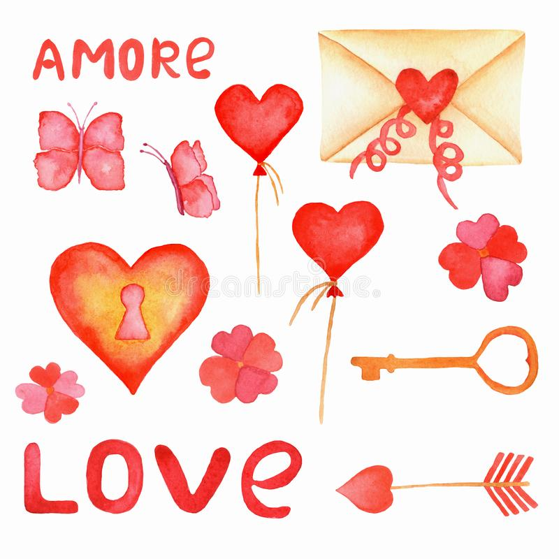 Romantic watercolor set.Ð¡artoon elements for valentine day designs: letter, key and lock, hearts balloons,flowers,love letters stock photo