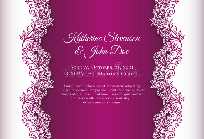Romantic wedding invitation with blue background a stock illustration