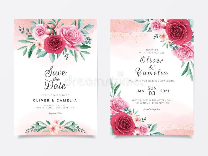 Romantic wedding invitation card template set with burgundy and peach watercolor flowers decor 带亮晶晶的花背景 库存例证