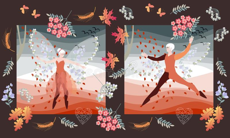 Romantic wedding invitation with elf ballet dancers. Beautiful card with fairy man and woman stock illustration