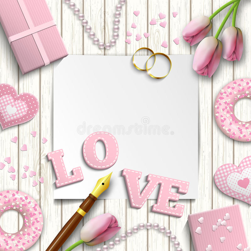 Romantic wedding or valentine motive, inspired by flat lay style, illustration vector illustration