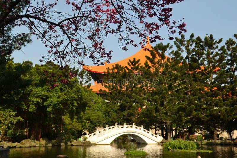 Romantic white bridge. At chiang kai-shek memorial hall in taipei stock photography