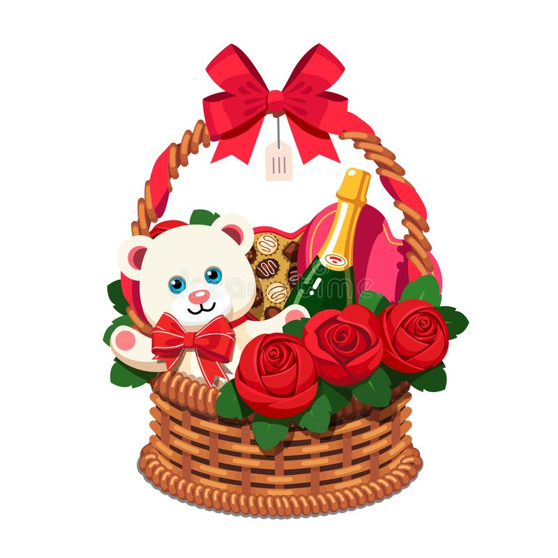 Romantic wicker present basket full of gifts. Handmade love valentine gift basket for woman, red ribbon bow, champagne bottle, present box, chocolate sweets vector illustration