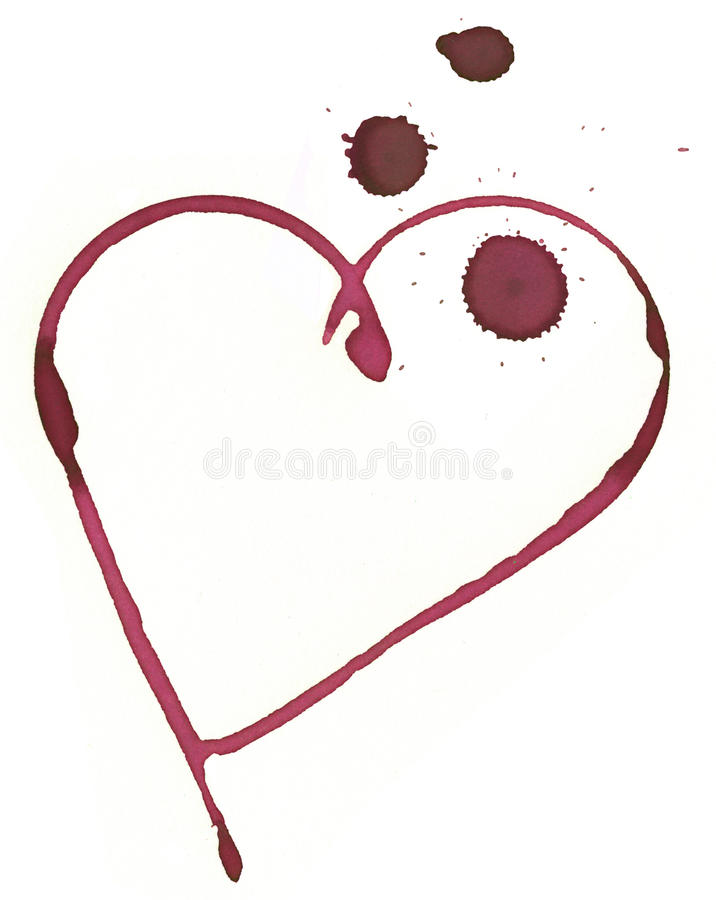 Romantic wine stain. Heart shape made with stain from wine glass vector illustration