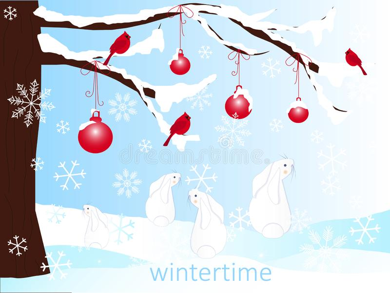 Romantic winter background with brown christmas tree, cartoon hares, red balls in white snow, Wintertime stock illustration