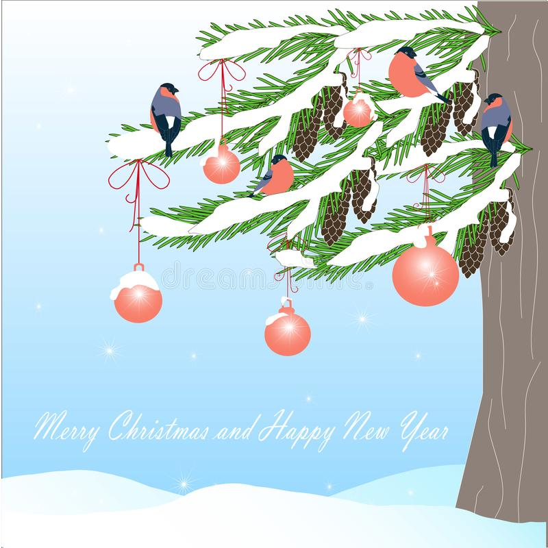 Romantic winter background with green fir tree, bullfinch, red ball, brown cone, Merry Christmas royalty free illustration