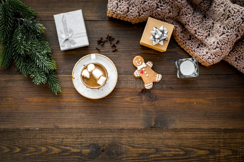 Romantic winter composition with hot drink. New Year or Christmas Eve. Cocoa with marshmallow, gift box, gingerbread man stock photography
