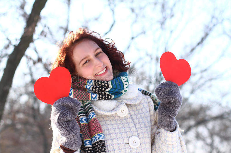 Download Romantic Winter Girl With Two Red Hearts Outdoors Stock Photo - Image: 29013352