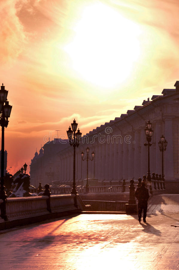 Romantic winter walk in Moscow stock photography