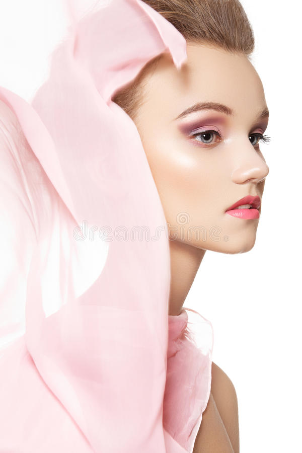 Download Romantic Woman With Delicate Silk Scarf & Make-up Stock Image - Image of cosmetic, femininity: 21765261
