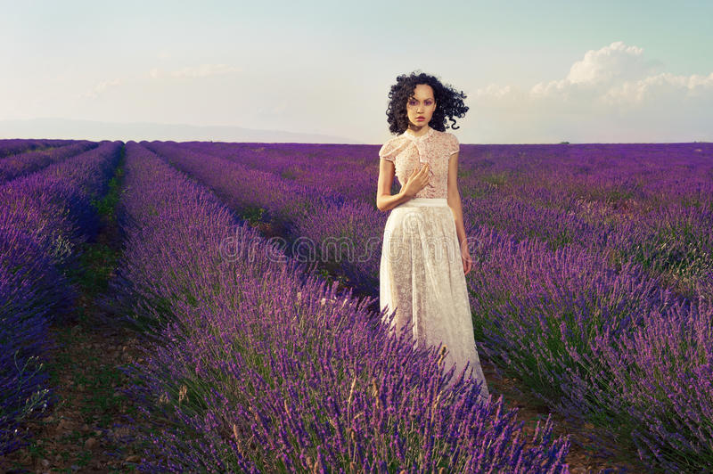 Download Romantic Woman In Fairy Lavender Fields Stock Image - Image of fairytale, cute: 26044591
