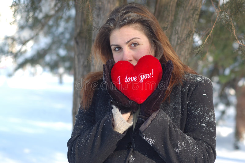 Romantic woman in winter royalty free stock image