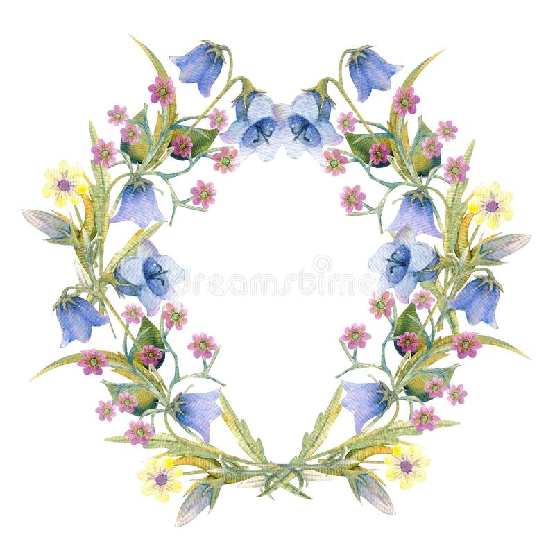 Romantic wreath. Think happy. Business card templates. Wildflowers in watercolor stock illustration