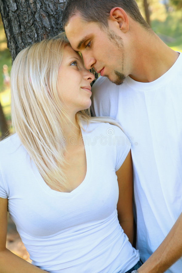 Romantic Young Caucasian Couple Sharing Love royalty free stock photos
