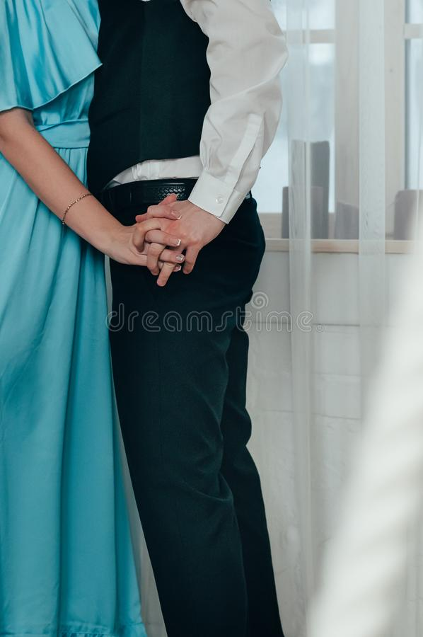 A romantic young couple on a date stock photos