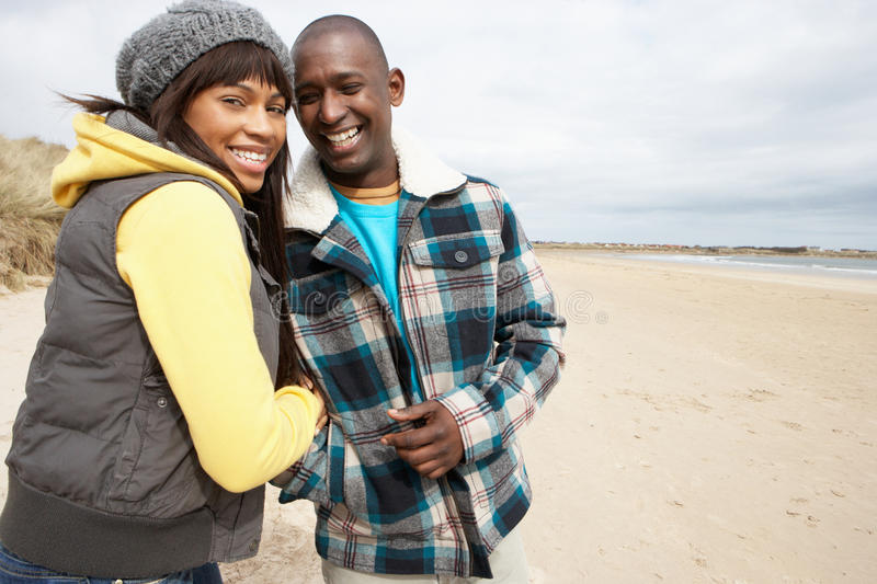 Download Romantic Young Couple On Winter Beach Stock Photo - Image: 16144330