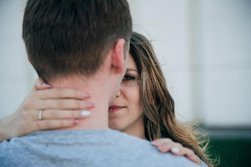 Romantic young happy couple hugging royalty free stock photos