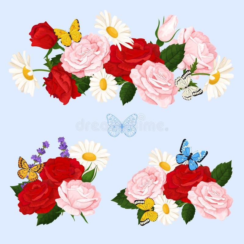 Romantiker blommar buketter med rosor, kamomill och fjärilar Blom- samling för vektor royaltyfri fotografi