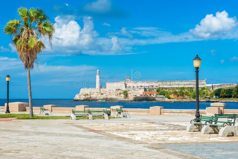 Romantiker parkerar i havannacigarr med en sikt av slotten av El Morro royaltyfri bild