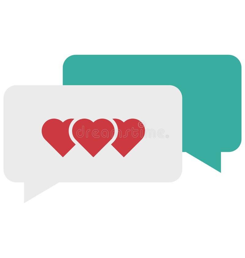 Romantiker pratstund, samtal, hjärta, anförandevektorsymbol stock illustrationer