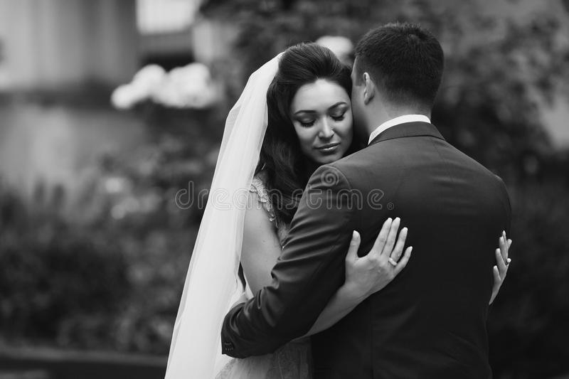 Romantiker, sinnliga par - brud och brudgum som utomhus kramar med royaltyfri fotografi