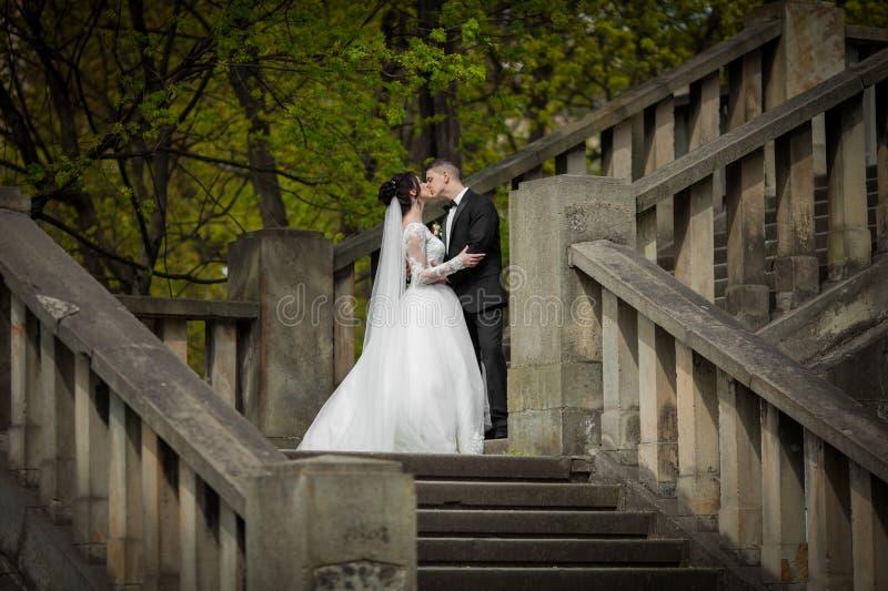 Romantiker sköt av den nygift personmaken och frun som kysser på gammal stairc arkivbild