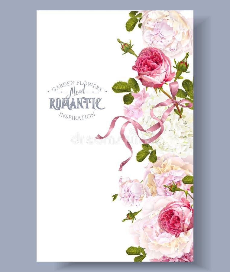 Romantikerträdgårdgräns stock illustrationer