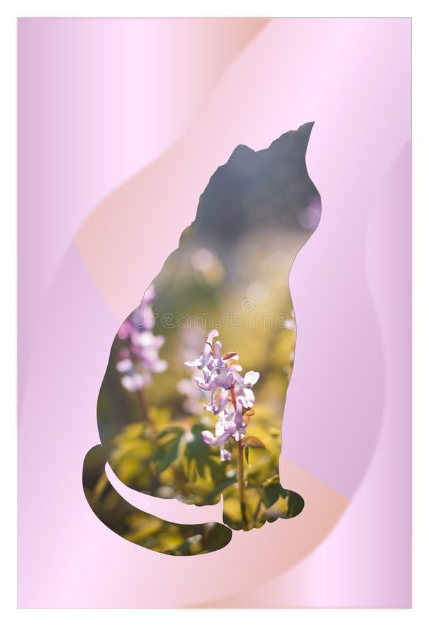 Romantisch beeld van een zittingskat met dubbel blootstellingsontwerp De lentebloemen in kader van kattensilhouet royalty-vrije illustratie