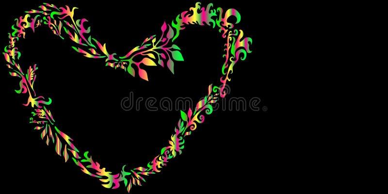 Romantisch bloemen het kader van het liefdehart psychedelisch gras als achtergrond royalty-vrije illustratie