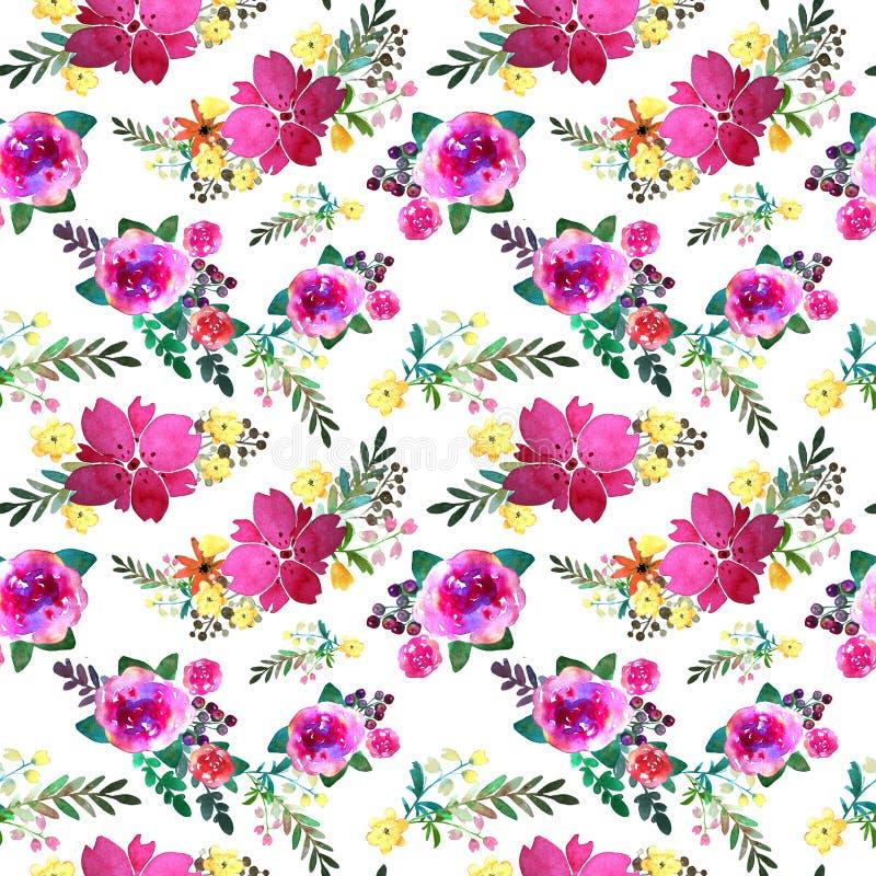 Romantisch bloemen naadloos patroon met roze bloemen en blad Druk voor textiel eindeloos behang Hand-drawn waterverf royalty-vrije illustratie