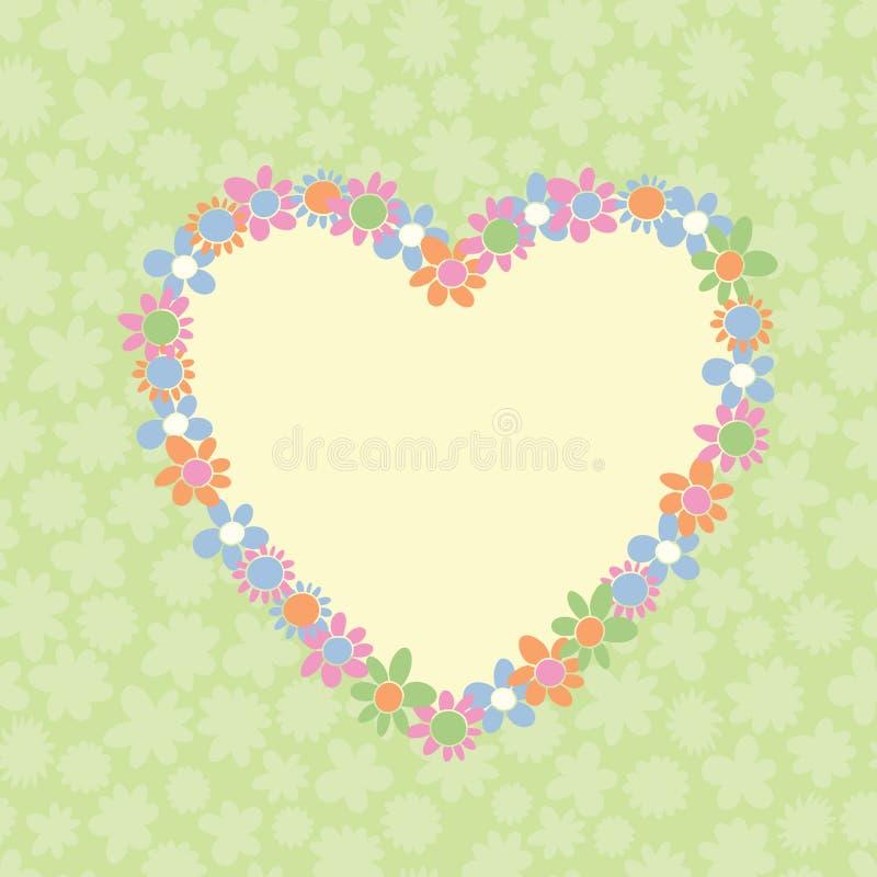 Romantisch bloemenhart gestalte gegeven frame vector illustratie
