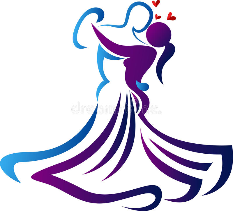 Romantisch dansembleem stock illustratie