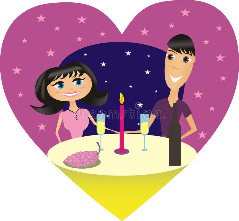 Romantisch diner royalty-vrije illustratie