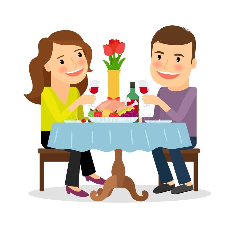Romantisch diner in een restaurant royalty-vrije illustratie